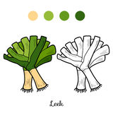 Coloring book: fruits and vegetables (leek) Stock Image