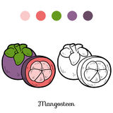 Coloring book: fruits and vegetables (mangosteen) Stock Photo