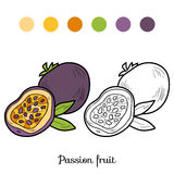 Coloring book: fruits and vegetables (passion fruit) Royalty Free Stock Photography