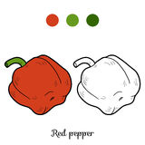 Coloring book: fruits and vegetables (pepper) Stock Photo