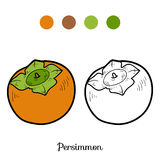 Coloring book: fruits and vegetables (persimmon) Royalty Free Stock Photos