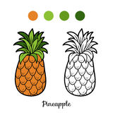 Coloring book: fruits and vegetables (pineapple) Royalty Free Stock Images