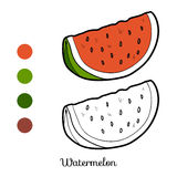 Coloring book: fruits and vegetables (watermelon) Stock Photos