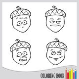 Coloring book - funny acorn, vector nature object. Page of coloring book - expressions of cartoon acorn Stock Photo