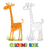 Coloring book of funny african giraffe Royalty Free Stock Photo