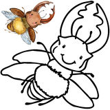 Coloring book funny Cartoon insect. Royalty Free Stock Images