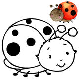 Coloring book funny Cartoon insect. Stock Photos