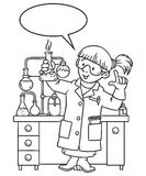 Coloring book of funny chemist or scientist. Coloring picture or coloring book of funny chemist. A woman in glasses dressed in a lab coat and gloves with vector illustration