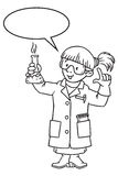 Coloring book of funny chemist or scientist. Coloring picture or coloring book of funny chemist. A woman in glasses dressed in a lab coat and gloves with Stock Photo