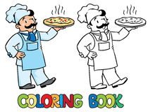 Coloring book of funny cook or chef with pizza. Coloring picture or coloring book of funny cook or chef or baker. Children vector illustration. Profession ABC vector illustration