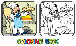 Coloring book of funny cook or chef  with pizza Stock Photo