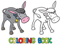 Coloring book of funny donkey. Coloring book or coloring picture of funny donkey with bell on stripe on his neck stock illustration