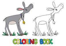 Coloring book of funny donkey. Coloring book or coloring picture of funny donkey with bell on stripe on his neck vector illustration