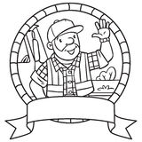 Coloring book of funny driver or worker. Emblem. Stock Images