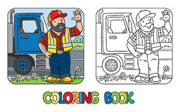 Coloring book of funny driver or worker Stock Photography