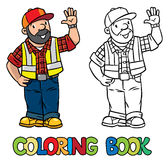 Coloring book of funny driver or worker Royalty Free Stock Photography