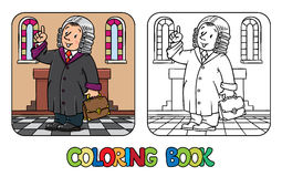 Coloring book of funny judge. Coloring picture or coloring book of funny judge. A man in barrister wig, dressed in mantle, with briefcase understand thumbs up Stock Photo