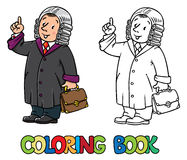Coloring book of funny judge. Coloring picture or coloring book of funny judge. A man in barrister wig, dressed in mantle, with briefcase understand thumbs up Royalty Free Stock Photography