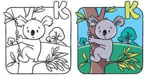 Coloring book with funny koala. Alphabet K Stock Photo