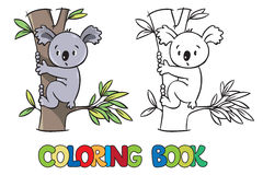 Coloring book with funny koala Stock Photography