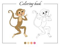 Coloring book with funny monkey. Cartoon vector illustration Stock Photos