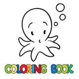Coloring book of funny octopus Royalty Free Stock Photography