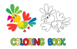 Coloring book of funny parrot Royalty Free Stock Photos