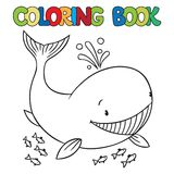 Coloring book of funny whale Stock Photography
