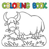 Coloring book of funny wild yak Royalty Free Stock Image