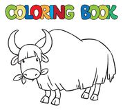 Coloring book of funny wild yak Stock Photo