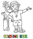 Coloring book of funny zoo keeper with parrot Royalty Free Stock Photo