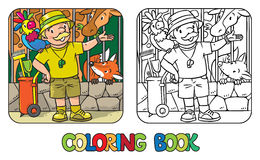 Coloring book of funny zoo keeper with parrot Stock Photo