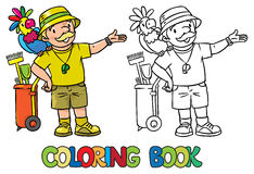 Coloring book of funny zoo keeper with parrot Stock Photos