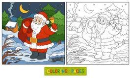 Coloring book, game for children: Santa Claus Stock Photos