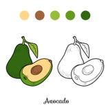 Coloring book game: fruits and vegetables (avocado). Coloring book game for children: fruits and vegetables (avocado Stock Photos