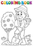 Coloring book gardener planting tree Stock Image