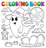Coloring book ghost with hat and lantern. Eps10 vector illustration royalty free illustration