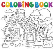 Coloring book gingerbread house theme 2 vector illustration
