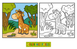 Coloring book (giraffe and background) Royalty Free Stock Photography