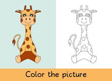 Coloring book. Giraffe. Cartoon animall. Kids game. Color picture. Learning by playing. Task for children stock illustration