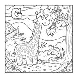 Coloring book (giraffe), colorless alphabet for children: letter Royalty Free Stock Photo