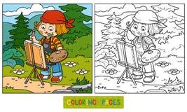 Coloring book (Girl artist draws on nature, open air) Stock Photos