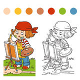 Coloring book (Girl artist draws on nature, open air) Stock Photo