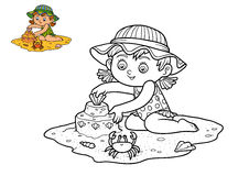 Coloring book, Girl on the beach Royalty Free Stock Photo