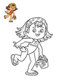 Coloring book, Girl on the beach Royalty Free Stock Photos