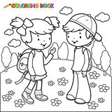 Coloring book girl and boy students Stock Photos