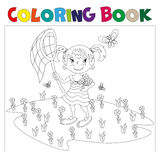 Coloring book girl chasing butterflies. The girl catches butterflies coloring book. black and white stock illustration