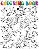 Coloring book girl chasing butterflies Stock Photo