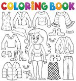 Coloring book girl with clothes theme 2 Royalty Free Stock Images