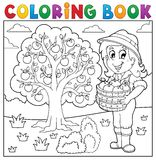 Coloring book girl with collected apples. Eps10 vector illustration Royalty Free Stock Photos